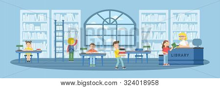 Children In Library Flat Vector Illustration. Bookshelves, Tables With Desk Chairs. Schoolkids Readi