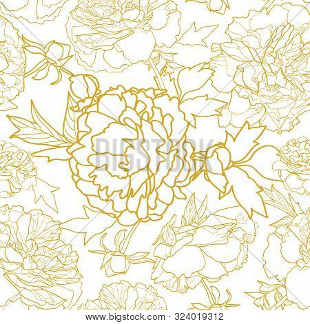 Elegant Golden Realistic Festive Peony Botanical Pattern, Peony Lien Art Blossom In Pastel Tones Wit