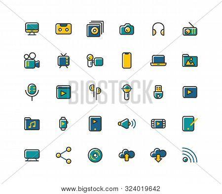 Media Filled Outline Icon Set, Vector And Illustration.