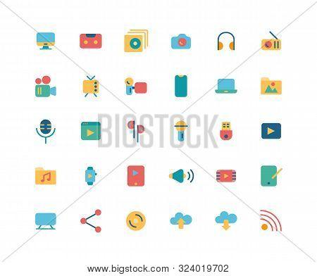 Media Flat Icon Set, Vector And Illustration.