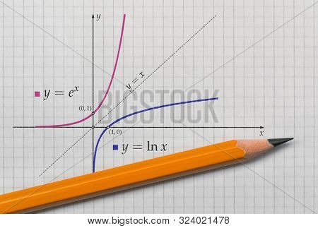 Exponential And Natural Logarithmic Function Plotted On Bright Background
