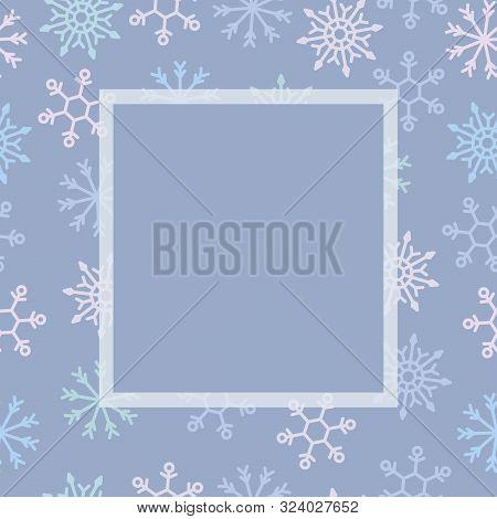 Holiday Template - Snow-flake Frame. Xmas Celebration. Merry Christmas Card. Vector Illustration Bac