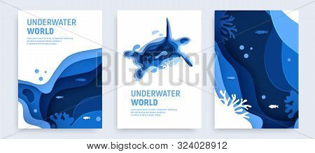 Underwater Ocean Abstract Paper Art Background Set. Paper Cut Underwater Background Set With Turtle