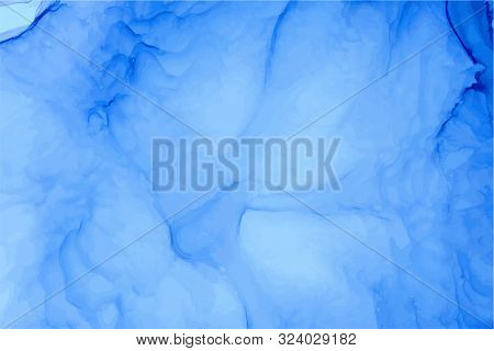 Alcohol Ink Abstract Blue Vector Background. Azure, Sapphire Watercolor Splashes, Stains Texture. Re