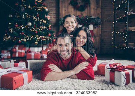 Photo Of Cheerful Optimistic Friendly Family People Mommy Dad Schoolgirl Wearing Red Sweaters Toothi