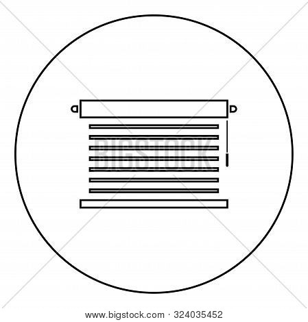 Jalousie Metal Window Jalousie For Office Louvers Icon In Circle Round Outline Black Color Vector Il
