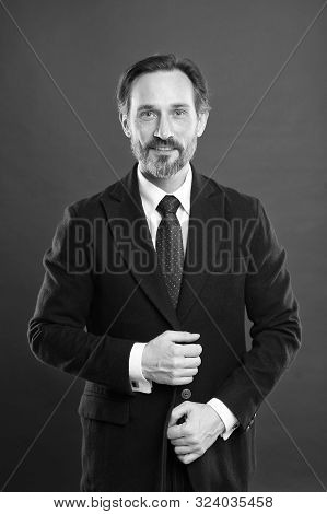 Well Groomed. Hair Grooming Tips. Business Man Well Groomed Guy Red Background. Business People Hair