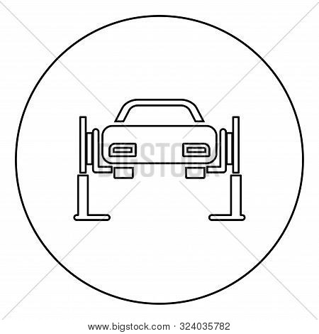 Car Lift Car Repair Service Concept Car On Fix Lift Car Lifted On Auto Lift Icon In Circle Round Out