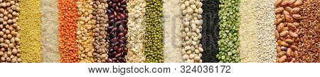 Different Cereals And Legumes: Rice, Peas, Lentils, Beans Haricot Millet Buckwheat Chickpea. Top Vie