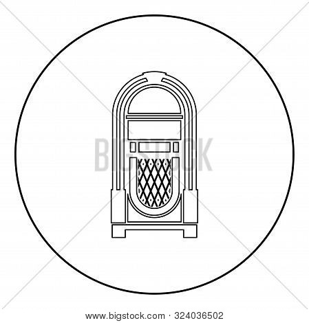 Jukebox Juke Box Automated Retro Music Concept Vintage Playing Device Icon In Circle Round Outline B
