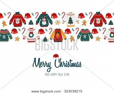 Merry Christmas And Happy New Year Greeting Card Vector Illustration. Template With Ugly Sweaters Ca
