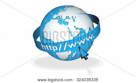 Earth Globe With Circulating Banner And Internet Text - Http Www - Shadow On The Floor - Isolated On
