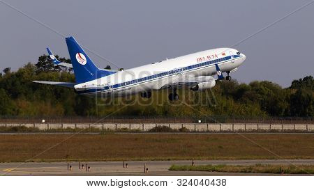 Borispol, Ukraine - June 21, 2019: Ew-437pa Belavia Boeing 737-8k5(wl) Aircraft Departing From The B