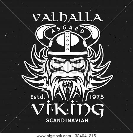 Scandinavian Viking God Odin Head In Horned Helmet, T-shirt Print Design. Vector Valhalla Majestic,