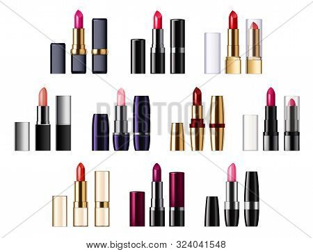 Color Lipsticks Palette Of Red, Pink, Brown Color. Vector Assortment Of Glossy Lipsticks In Tubes, P