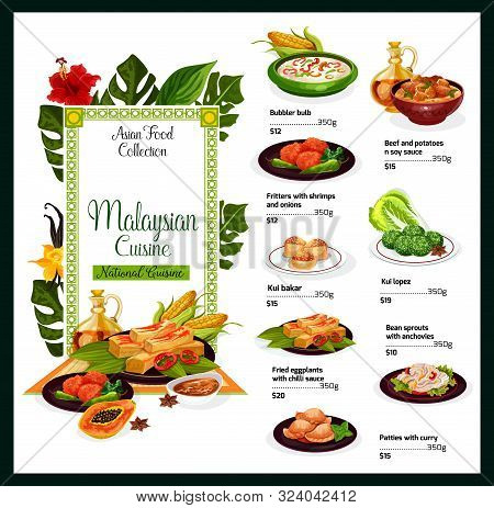 Malaysian Cuisine Menu Template. Vector Asian Food, Bubbler Bulb, Beef And Potatoes, Fritters With S