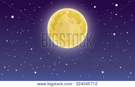 Cartoon Full Moon On Dark Starry Night Sky. Starry And Moon Night Backdrop. Bright Moon Beautiful Sk