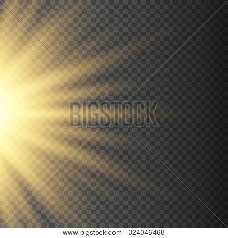 Gold Glowing Half Light Burst Explosion On Transparent Background. Bright Yellow Flare Effect Decora
