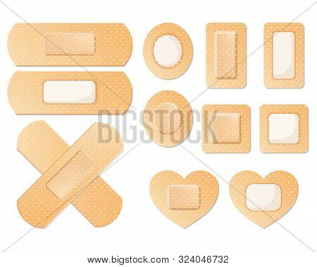 Medical Adhesive Bandage Plasters Set Icon Isolated On White. First Aid Plaster Tape Protection. Det