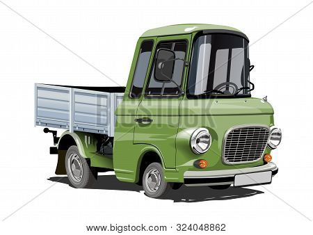 Cartoon Retro Delivery Cargo Flatbed Truck Isolated On White Background. Available Eps-10 Vector For