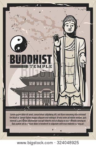 Buddhist Holy Temple, Buddha Statue And Yin Yang. Vector Buddhism Spiritual Meditation Symbols, Mona
