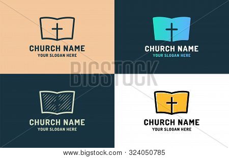 Logo For Religious Community. Holy Bible Icon With The Cross. Design Element For Poster, Banner, Car