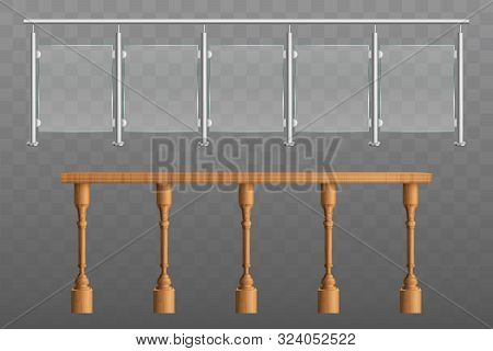 Metal, Wooden Handrails, Banister Or Fencing Sections Set With Steel Pillars, Glass Panels, Wood Eng