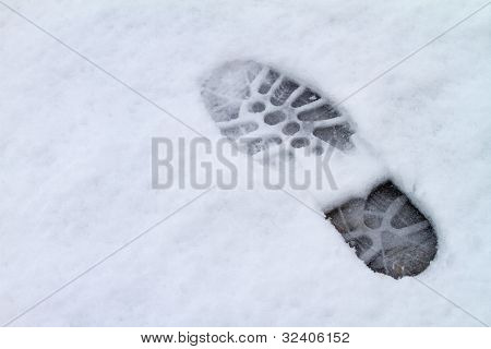 footprint over snow