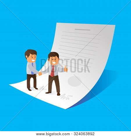 Two Businessmen Signed A Contract. Both Are Happy. Vector Illustration