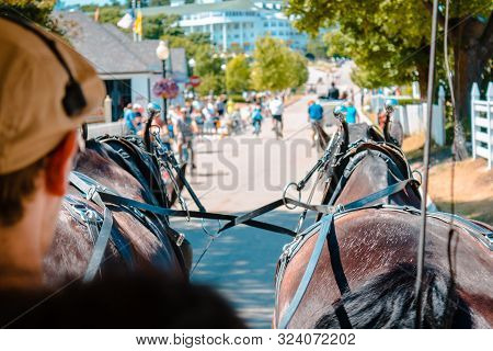 Mackinac Island Mi /usa - July 9th 2016: Horse And Buggy Tour Of Mackinac Island