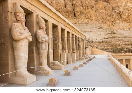 Hatshepsut Statues By The Columns On The Highest Terrace Of The Mortuary Temple Of Hatshepsut, Luxor