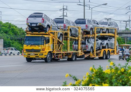 Bangkok, Thailand - August,5,2018: Car Transporter Truck On The Road, On August,5,2018 In Bangkok, T