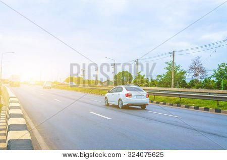 Car On The Asphalt Road, Car On The Road In The Morning Summer
