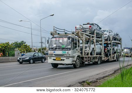 Bangkok, Thailand - August,13,2018: Car Transporter Truck On The Road, On August,13,2018 In Bangkok,
