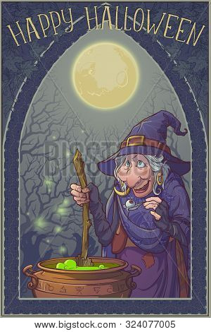 Old Witch In A Cone Hat Brewing A Magic Potion In A Cauldron. Halloween Cartoon Style Character. Lin