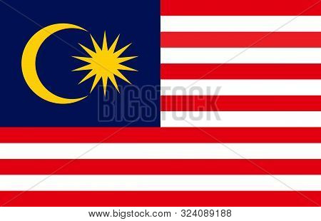 Malaysia State Flag Or Malaysian National Flag. Sign,symbol,print,banner,backgrounds Etc.