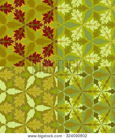 Set Of Seamless Patterns Of Autumn Leaves, Mosaic, Tessellation. Vector Eps 10