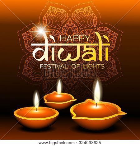 Social Media Happy Diwali Festival Of Lights Squre Template Creative Vector Background With Diya Oil