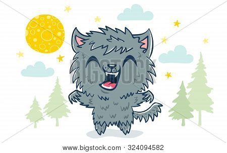 Vector Illustration Of A Werewolf In Kawaii Style. Illustration Of A Cute Kid In Werewolf Costume. H