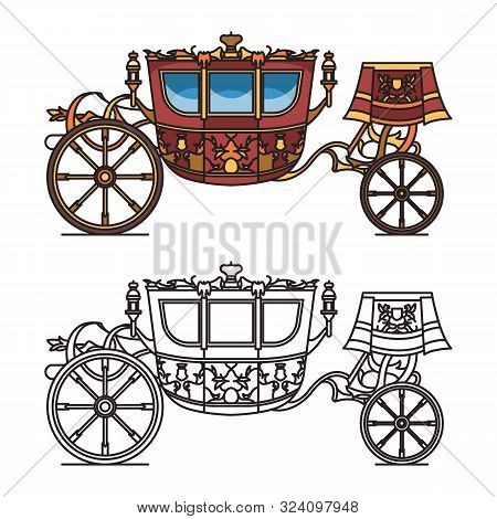 Vintage Carriage Contour, Chariot Outline For King
