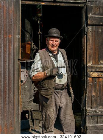 Telford, Shropshire / Uk - August 27 2019:  Blists Hill, Victorian Town, Winding Room Furnace House