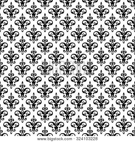 Royal Fleur De Lis Seamless Pattern - Damask Ornament Vector. Perfect For Backgrounds,fabric,banner,