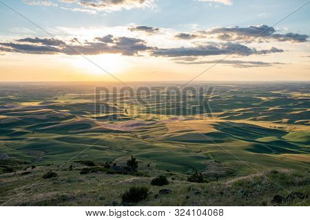 Beautiful Sunset Golden Hour View Of The Palouse As Seen From Steptoe Butte State Park In Washington