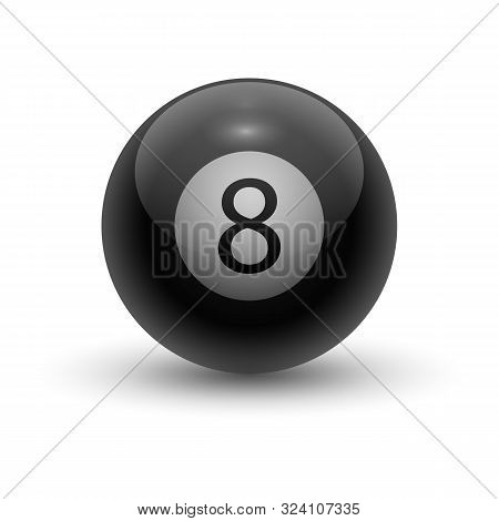 Eight Pool Ball. Black Solid Sphere For Eight-ball, Round Item For Eightball, 8-ball Or Solids And S