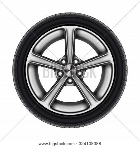 Auto Tyre Or Isolated Automobile Wheel On White. Car Tire Or Automotive Tire With Star Disk. Bus Or