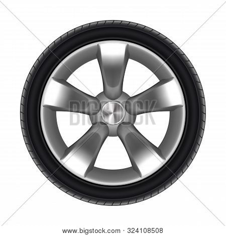 Tyre Of Car Isolated With Star Disk. Black Rubber Protector For Auto. Tire For Lorry Or Tyre For Bus