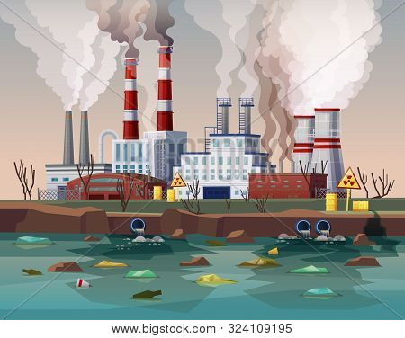Power Plant Air Smoke Pollution Or Industry Factory Water Disaster. Building With Chimney And Smog,