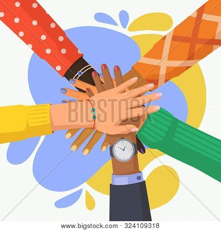 Hand Stack Of Multi Culture People. Palm Pile Of Friends With Different Ethnicity. African And India