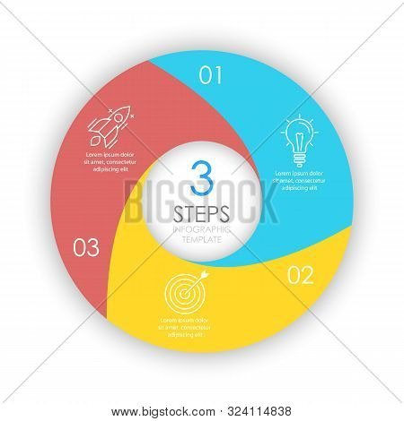 Vector Circle Infographic Template With 3 Options For Presentations Or Layouts. Business Concept Rou