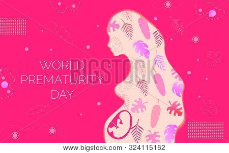 World Prematurity Day Is Celebrated On 17 November. Noncarrying Of Pregnancy Concept Vector For Web,